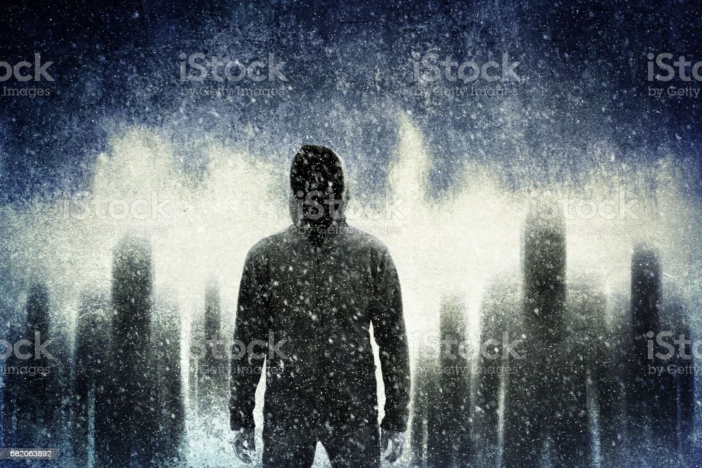 Mysterious gangster in the dark stock photo