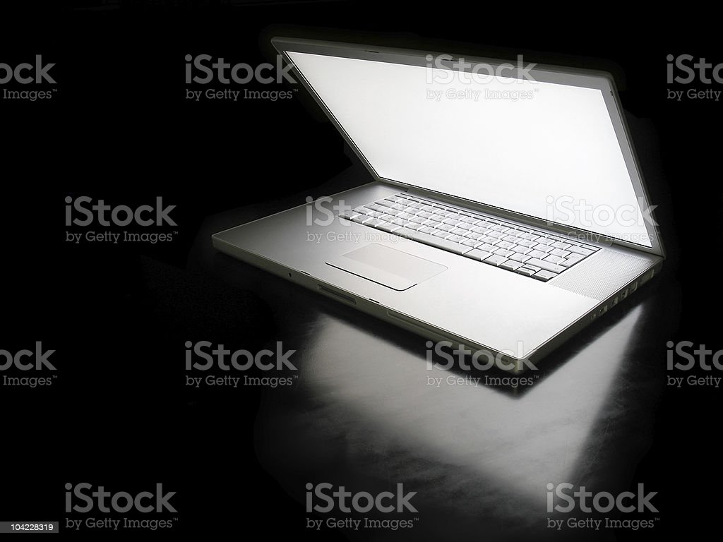Mysterious laptop stock photo
