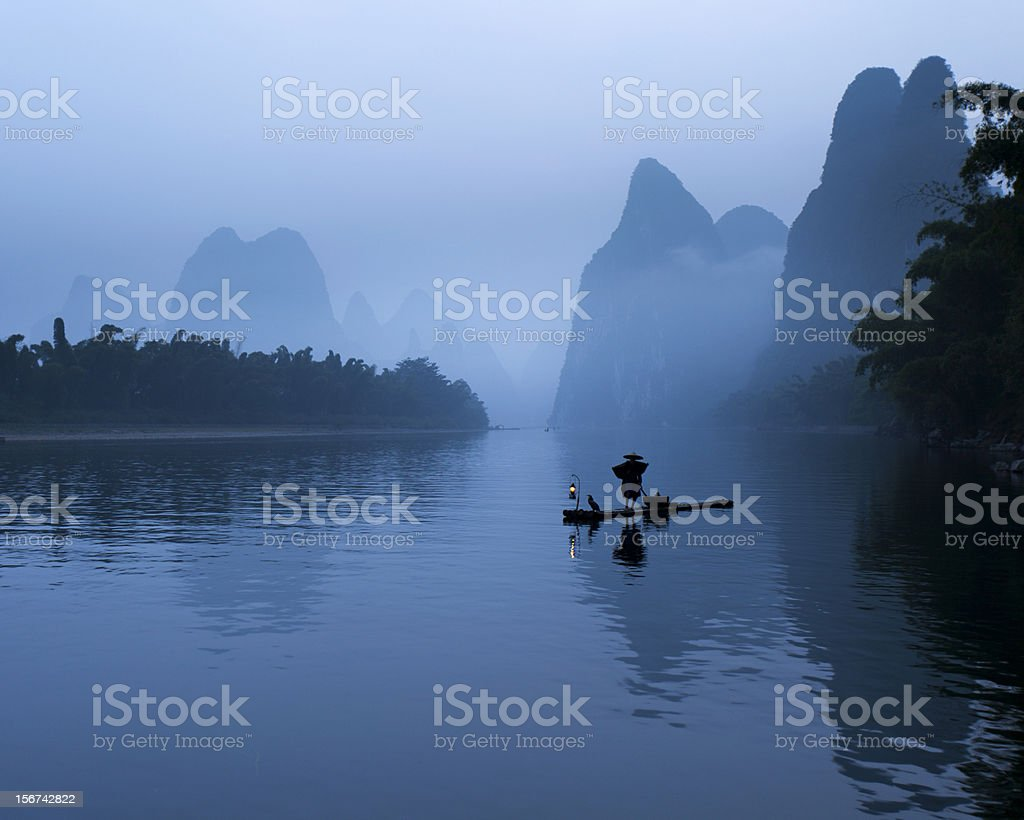 Mysterious Li River stock photo