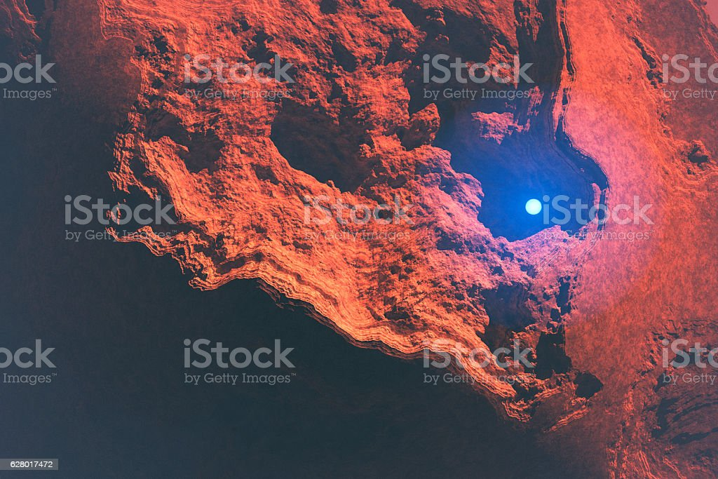 Mysterious light sphere hovering over Martian landscape stock photo