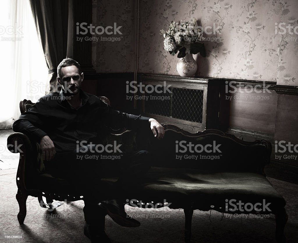 Mysterious Man, Dark Room stock photo