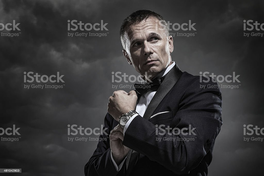 Mysterious Man in Tuxedo stock photo