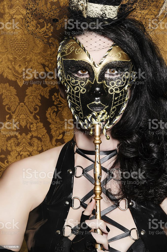Mysterious Masquerade - Sexy Vixen with Venetian Mask royalty-free stock photo