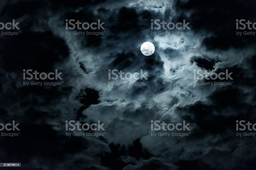 Mysterious night sky with full moon stock photo