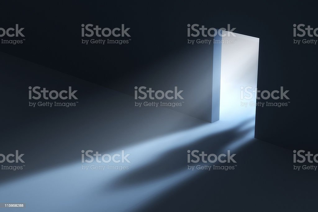 Mysterious people shadow in doorway. stock photo