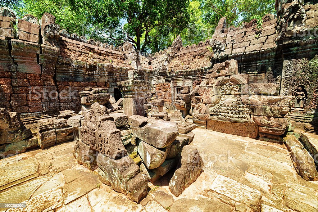 Mysterious ruins of ancient Ta Som temple in Angkor, Cambodia stock photo