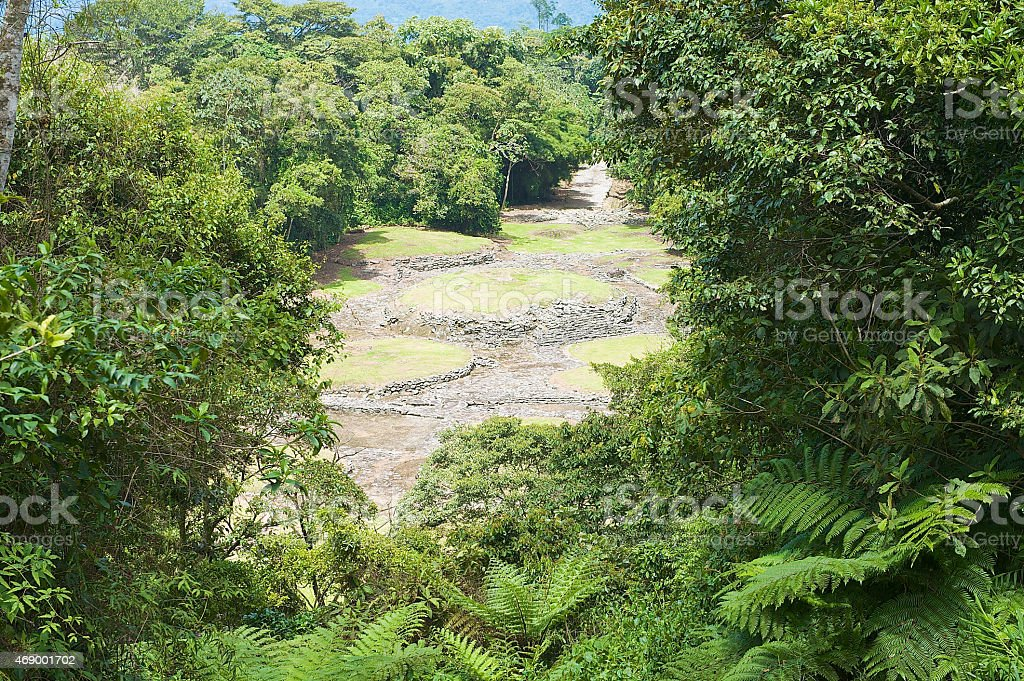 Mysterious ruins of Guayabo de Turrialba, Costa Rica. stock photo