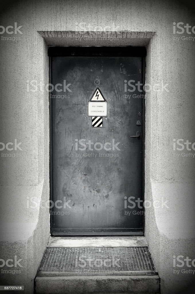 Mysterious spooky bunker door - fallout shelter stock photo