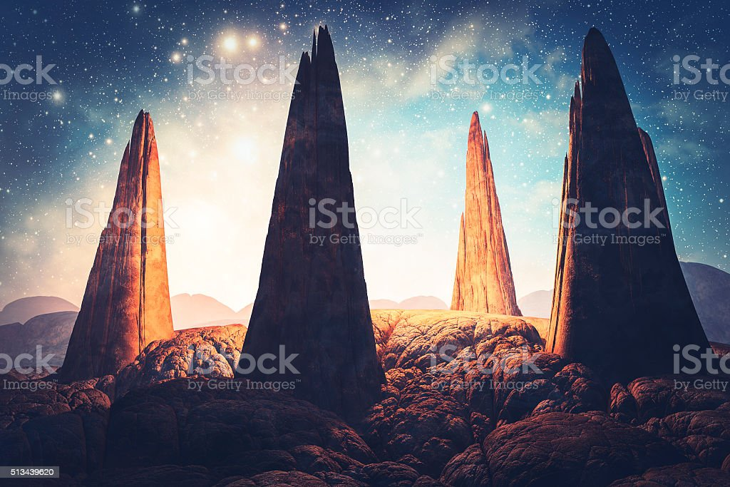 Mysterious stone megaliths in fantasy landscape stock photo