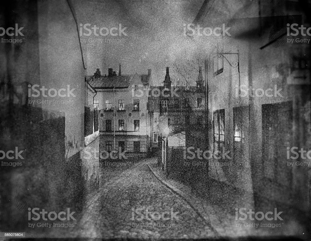 Mysterious street of Stockholm stock photo