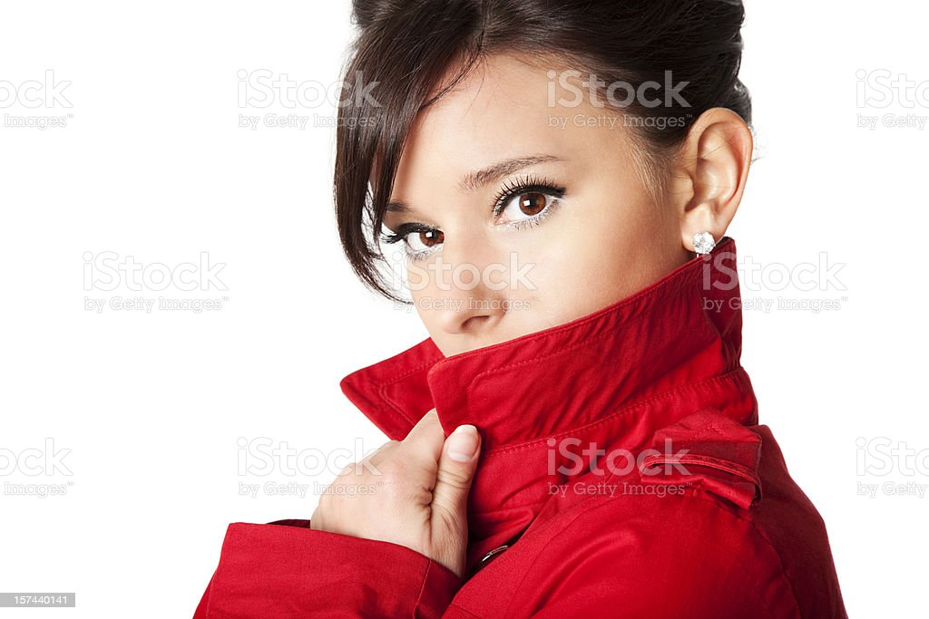 Mysterious Woman in Red stock photo