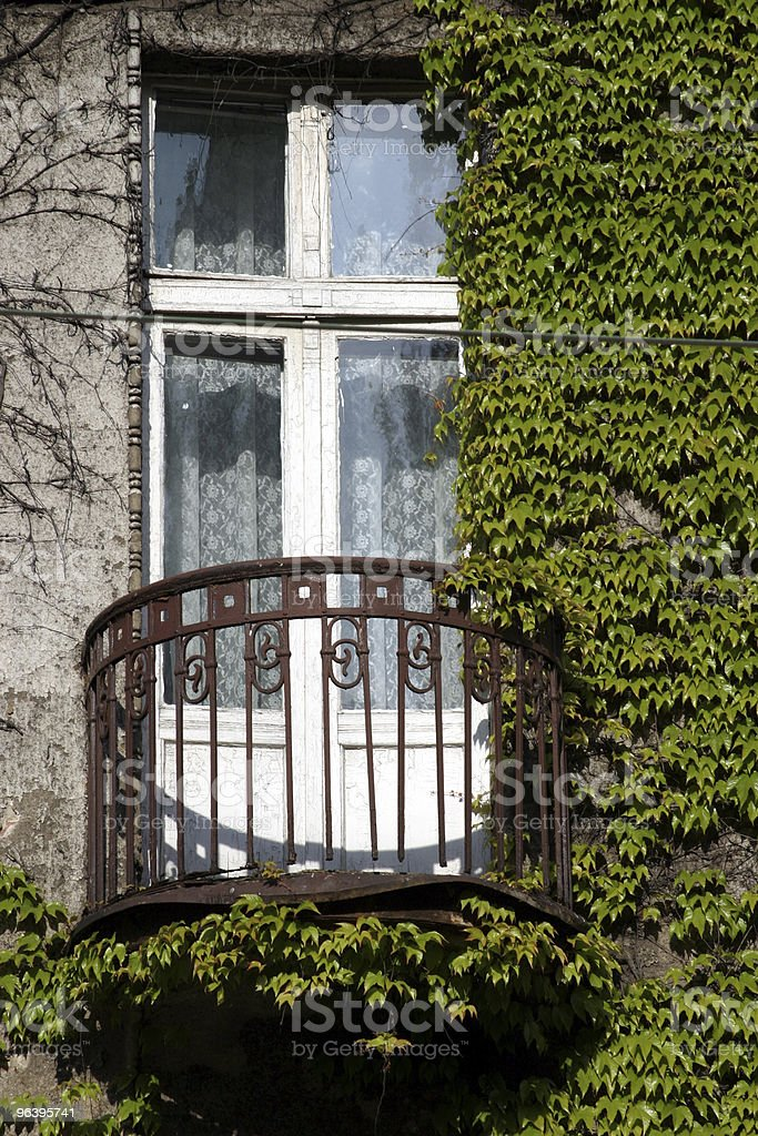 Mysterious,old,green balcony stock photo
