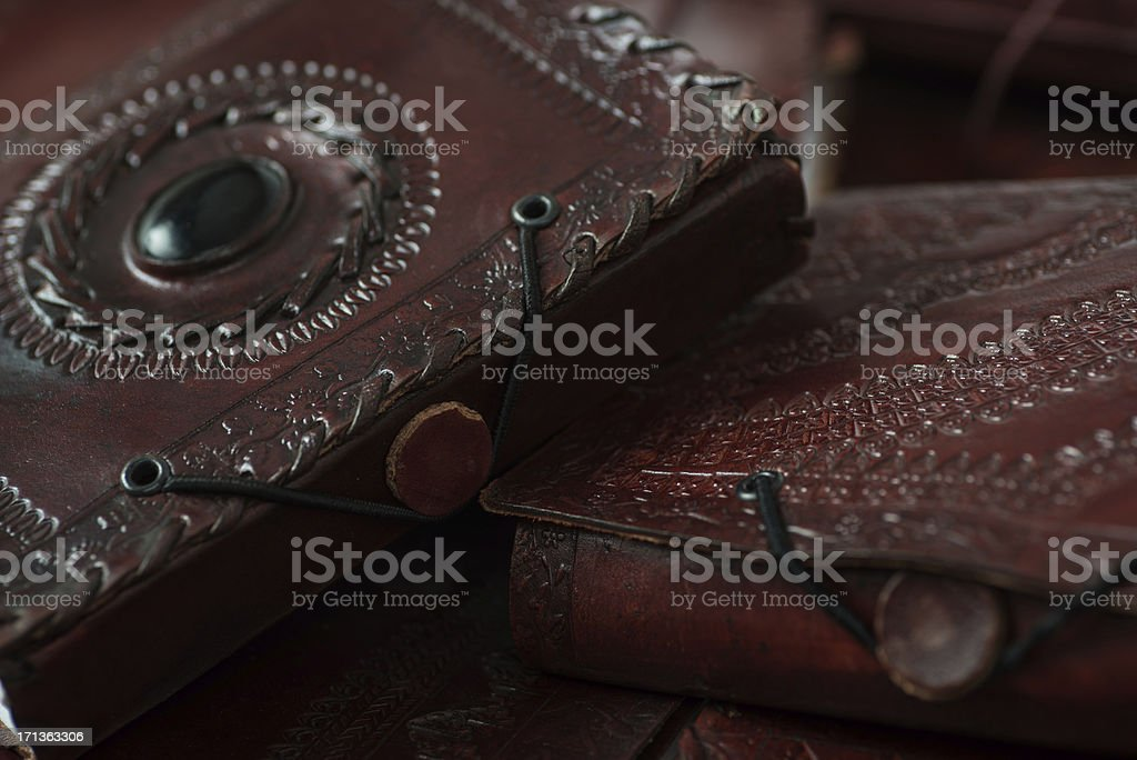 mystery brown leatherbooks diary and notebooks from indiary royalty-free stock photo
