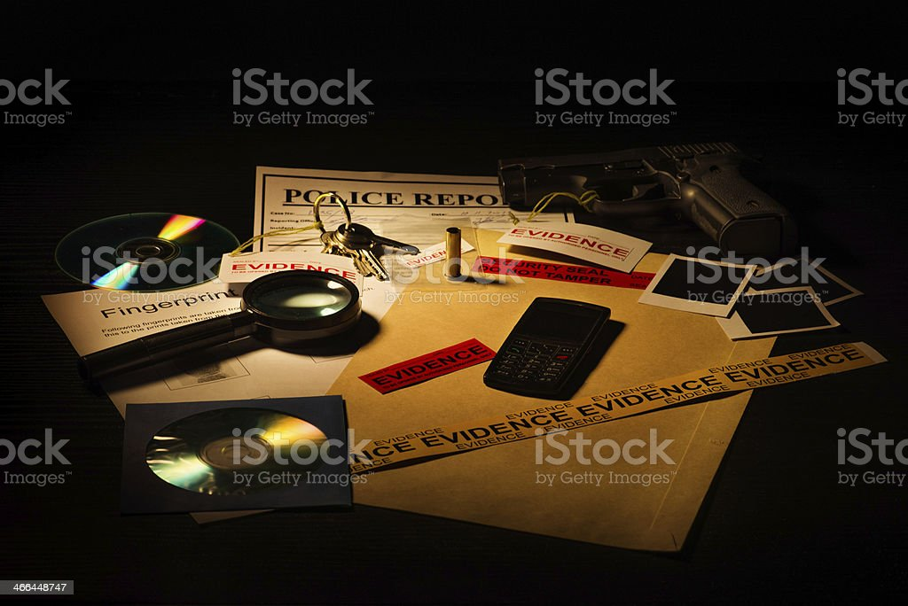 Mystery cases and evidence files stock photo