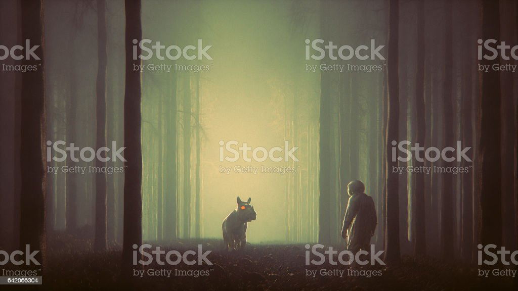 Mystery forest with astronaut and fantasy hippo stock photo
