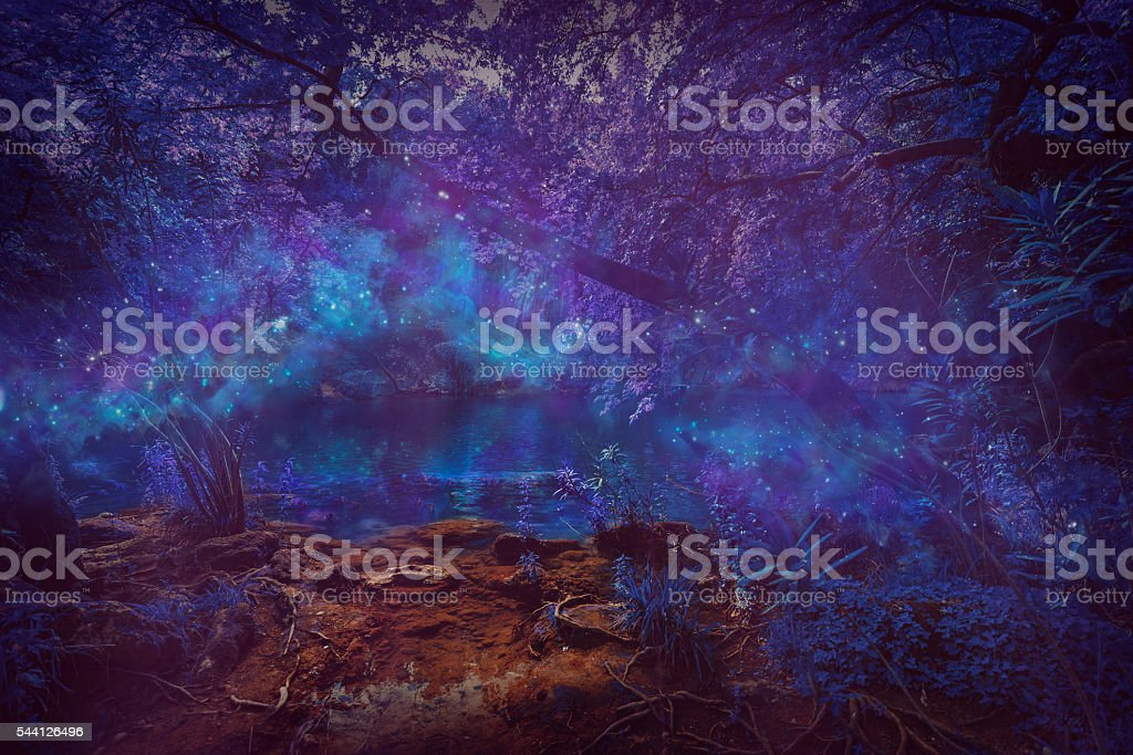 Mystery night at deep forest with flowing particle light stock photo