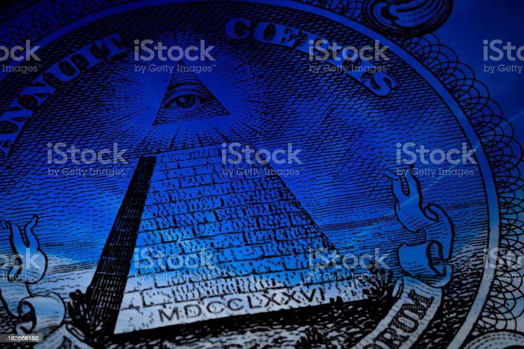 Mystery of on dollar (blue) stock photo