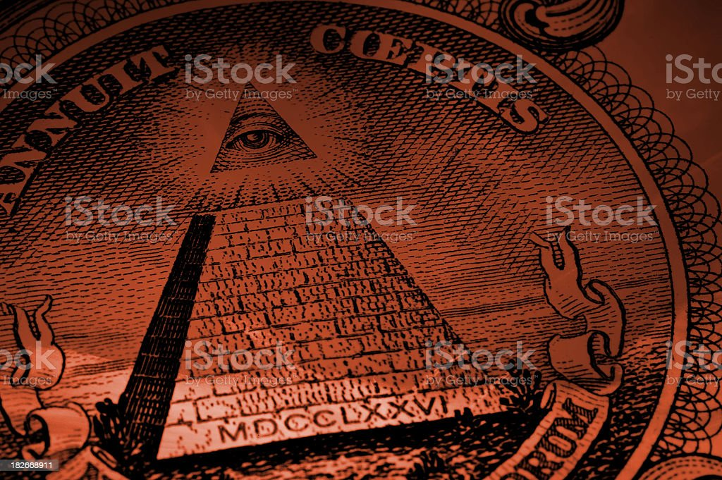 mystery of one dollar (red) stock photo