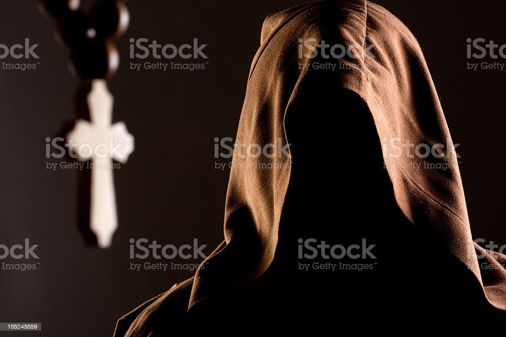 Mystery unrecognizable monk stock photo