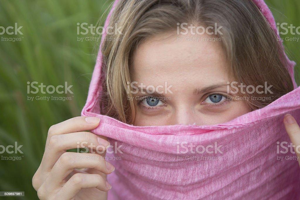 Mystery woman stock photo