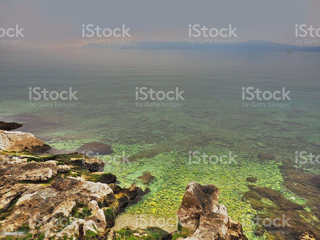 Mystic coastline stock photo