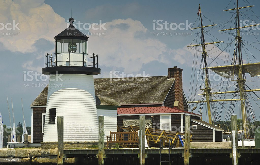 Mystic, Connecticut Lighthouse royalty-free stock photo