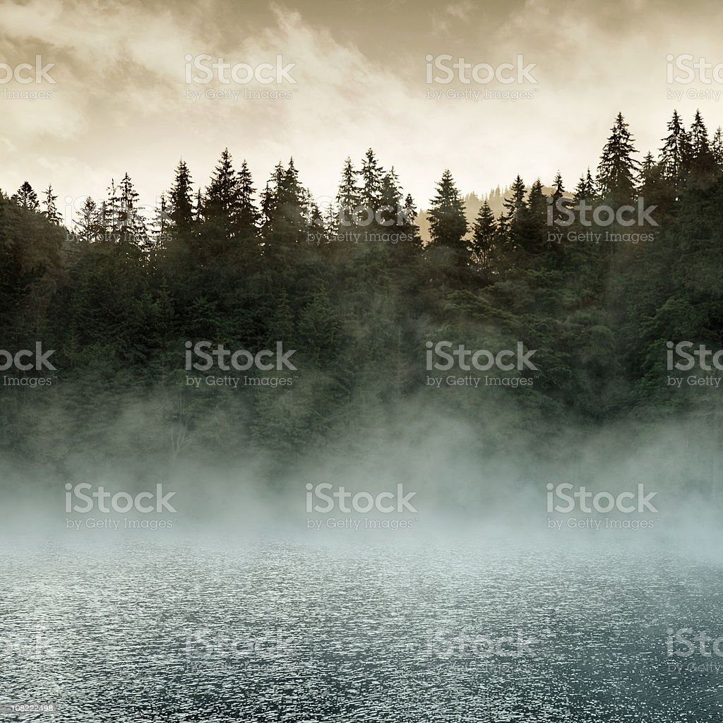 Mystic Lake at Sunrise stock photo