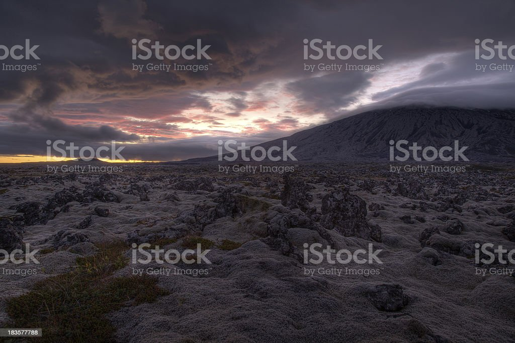 Mystic landscape at sunset in Iceland royalty-free stock photo