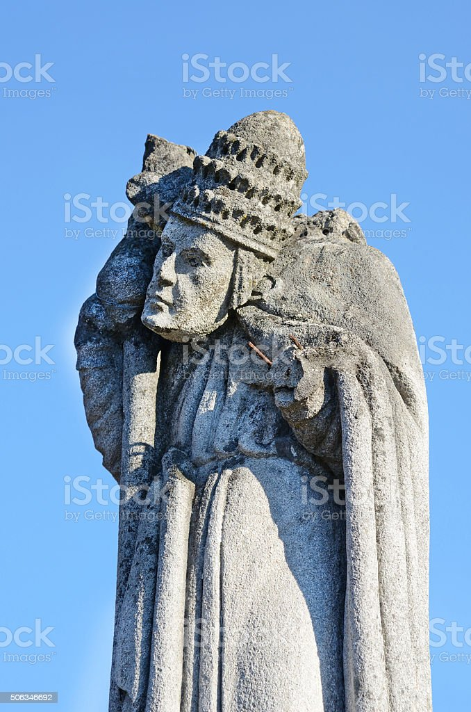 Mystic old stone statue with rolled away head stock photo