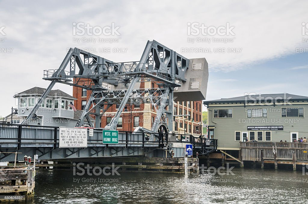 Mystic River Hightway Bridge stock photo