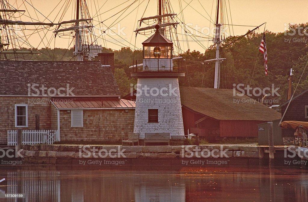 Mystic Seaport Dawn stock photo