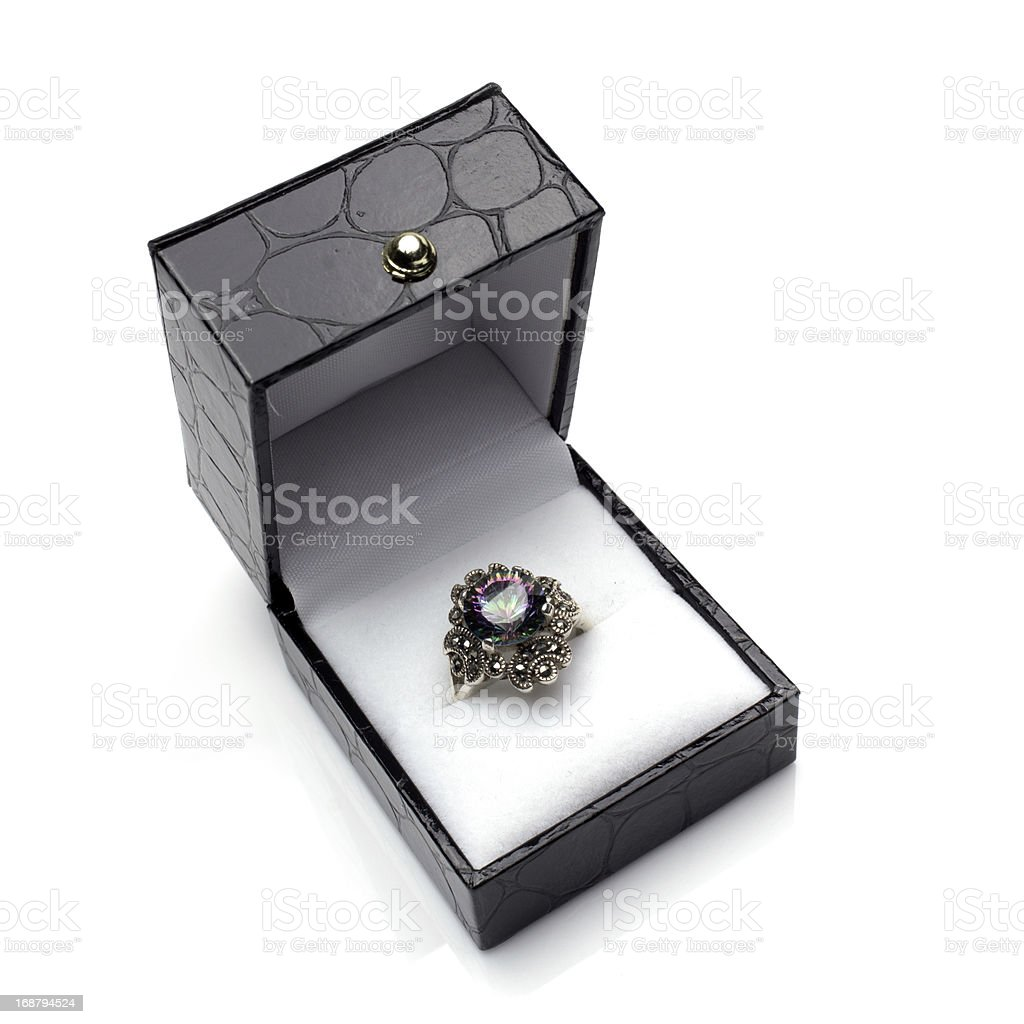Mystic Topaz Ring in Gift Box royalty-free stock photo