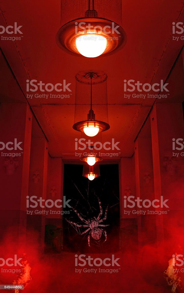Mystic tunnel with huge spider, red light and fog stock photo