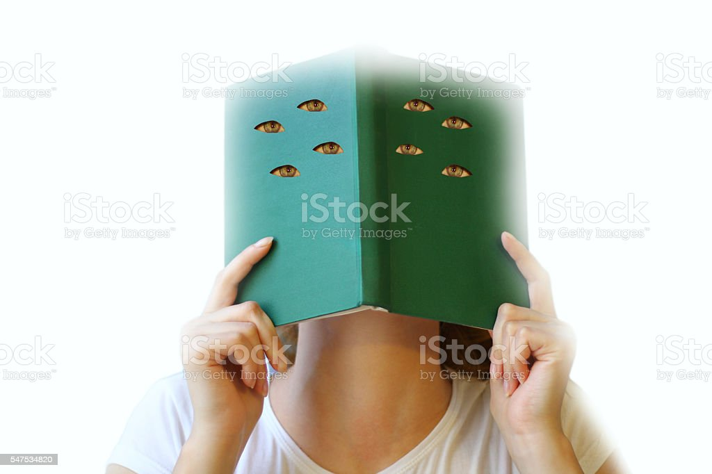 Mystic woman reading a book. stock photo