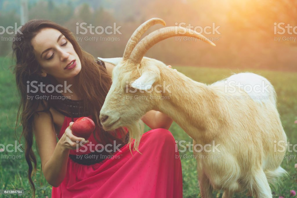 mystic woman with goat