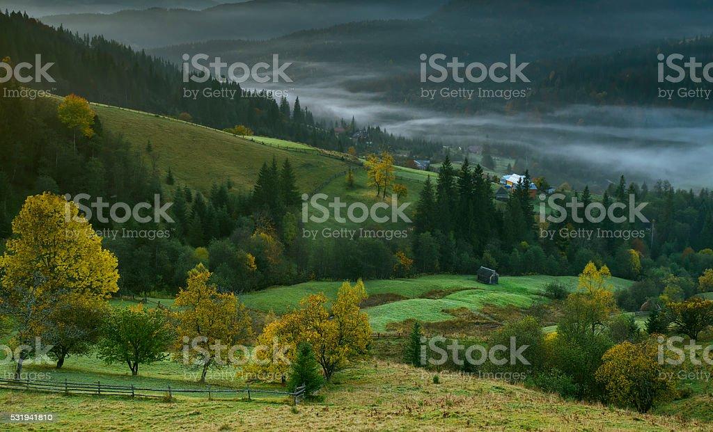 Mystical autumn mountain landscape stock photo