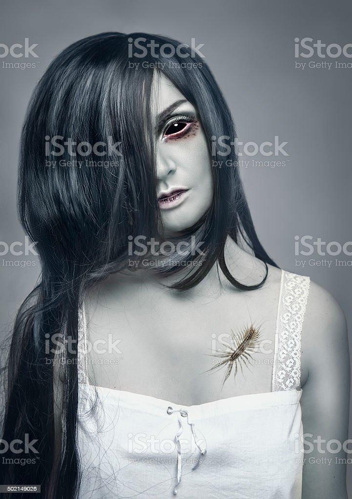 Mystical ghost beautiful woman portrait stock photo