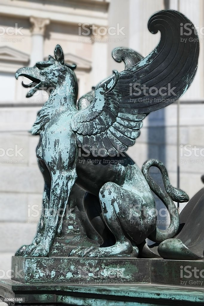 Mystical Griffin bronze statue, Vienna, Austria stock photo