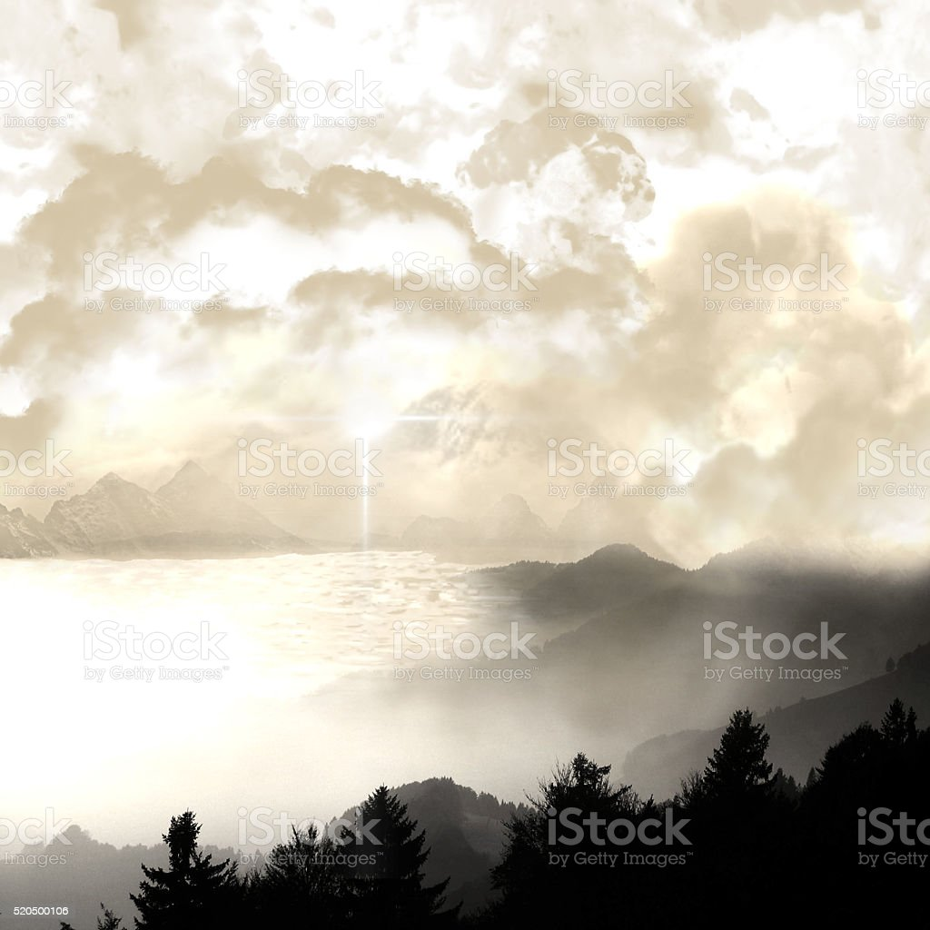 mystical landscape of lake with mist stock photo