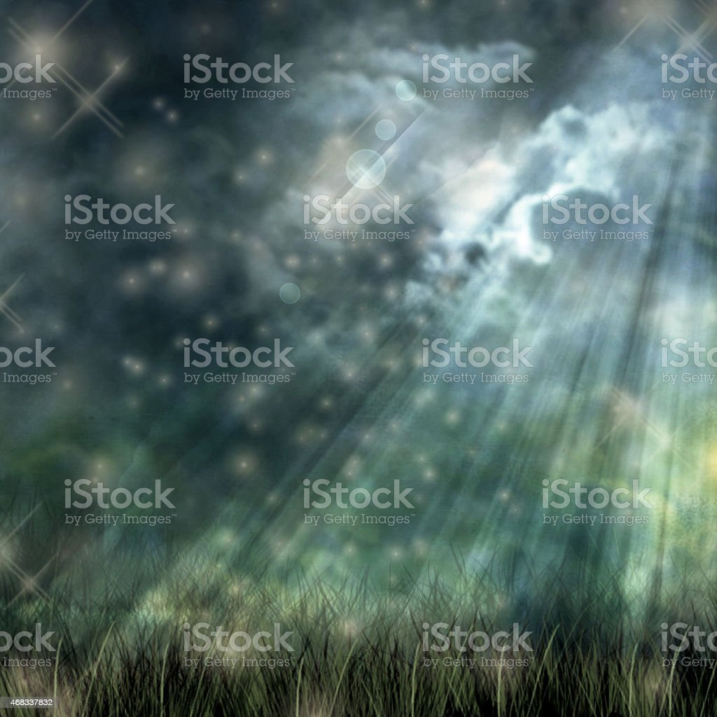 Mystical moonlight flowing from the dark sky to the ground stock photo