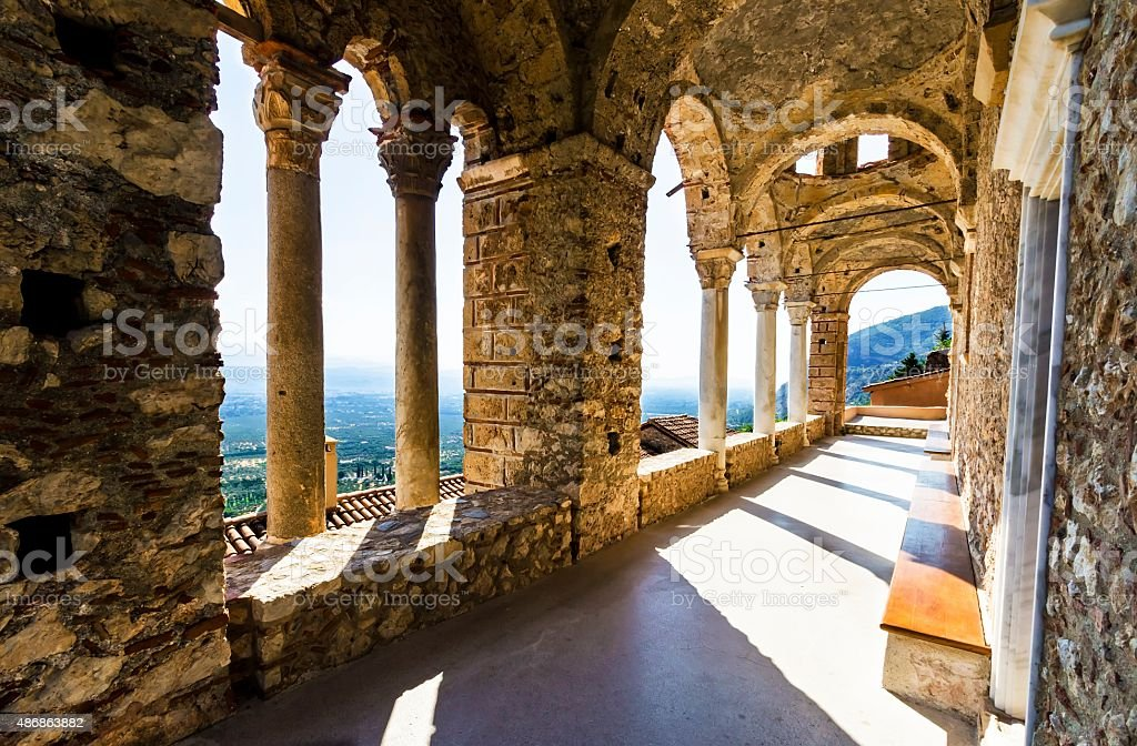 Mystical Mystras, Panayia Pantanassa monastery stock photo