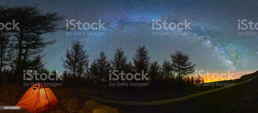 Mystical night landscape stock photo