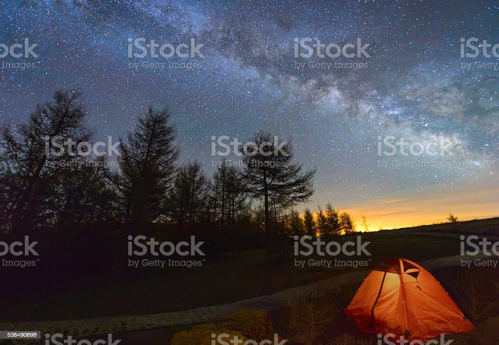 Mystical night landscape stock photo