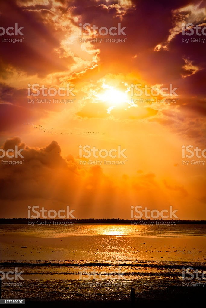 Mystical sun rays from a cloudy morning sky stock photo