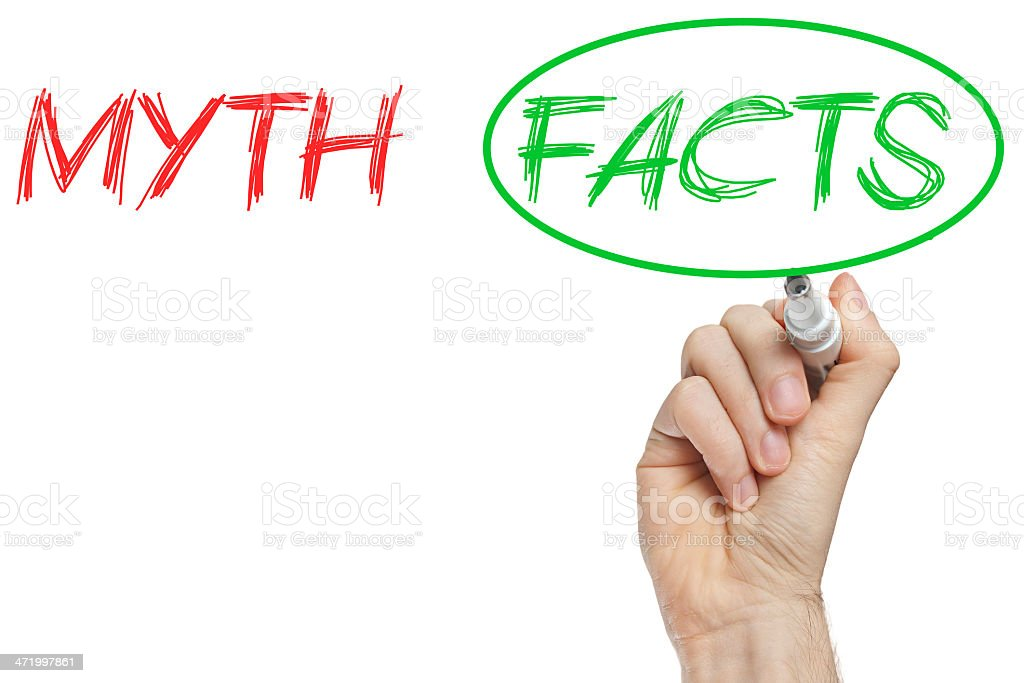 Myth and facts stock photo