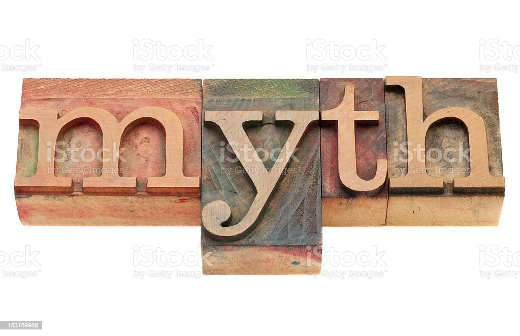 myth in letterpress type stock photo