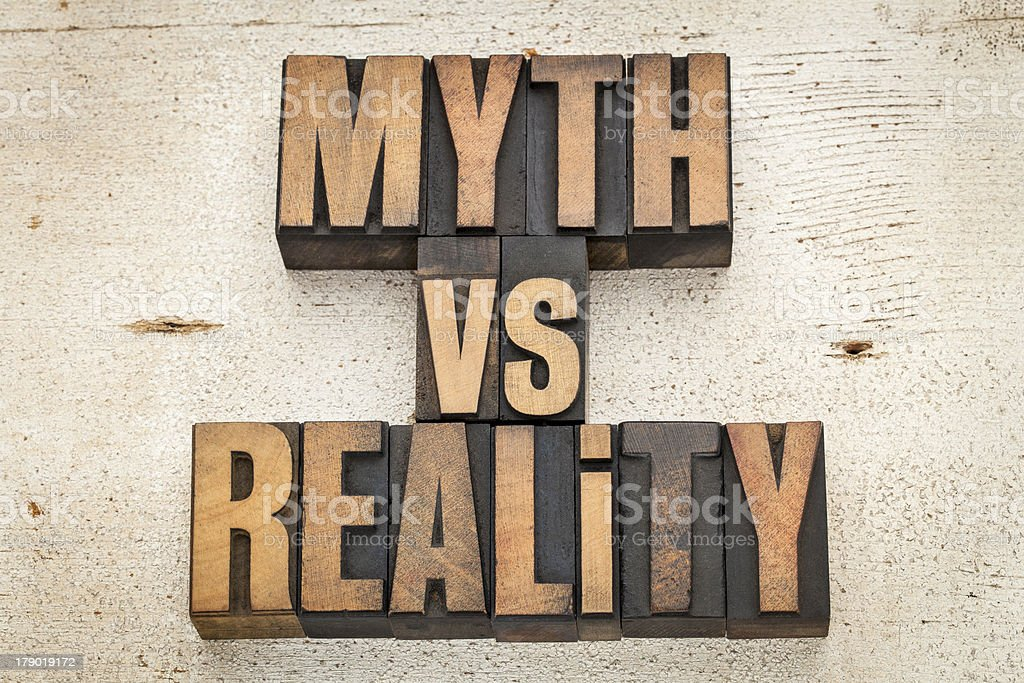 myth versus reality stock photo