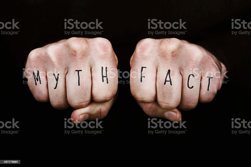 Myth Vs Fact stock photo