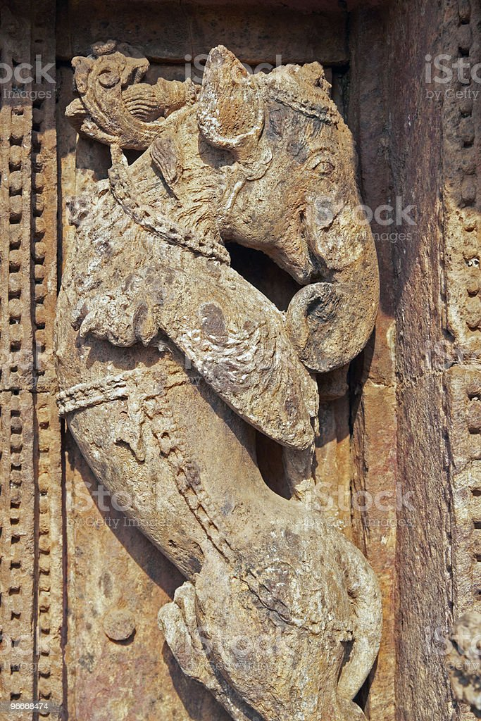 Mythical Creature Carved on Ancient Hindu Temple royalty-free stock photo