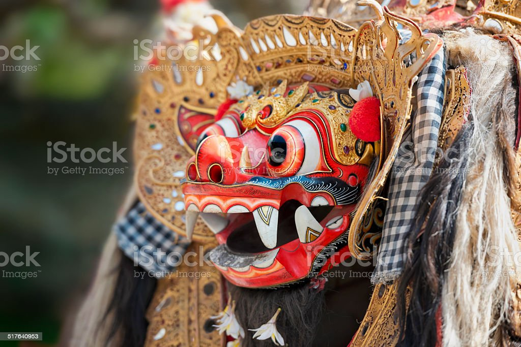 Mythological Barong Head of the Traditional Balinese Dance stock photo